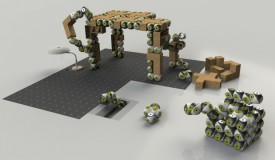 Rendered vision of a table being assembled by Roombots (RB) modules, using lightweight elements and integrated RB modules.