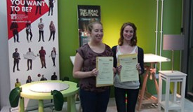 Winners of Ikea Hack Competition Emma Chiddle and Hazel Crosland pose with their winning Ikea Hack furniture designs