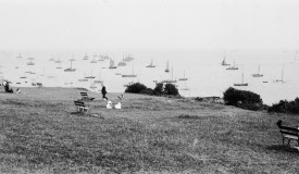 Photograph from 1909, the view of the Thames Estuary from Leigh Cliffs